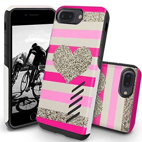 Orzly Funda iPhone 8 Plus, Grip-Pro Case para iPhone 7 Plus/iPhone 7 Plus (5,5 Pulgadas Modelo Teléfono Móvil) - Funda Durable y Ligera Capa Doble de Mayor Agarre y Defensa - CORAZÓN