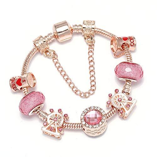 Pulsera de oro rosa con cuentas de cristal de la rueda de la noria se adapta a la pulsera para las mujeres regalo del día de San Valentín C01 17cm