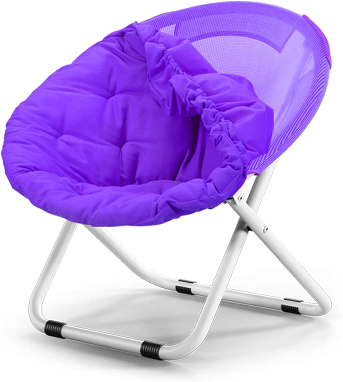 Washable folding chair Adult Moon Chair Sun Chair Lazy Chair Sun Lounger folding chair Round Chair Sofa Chair Solid color Home folding chair Lazy Couch   (color   Purple)