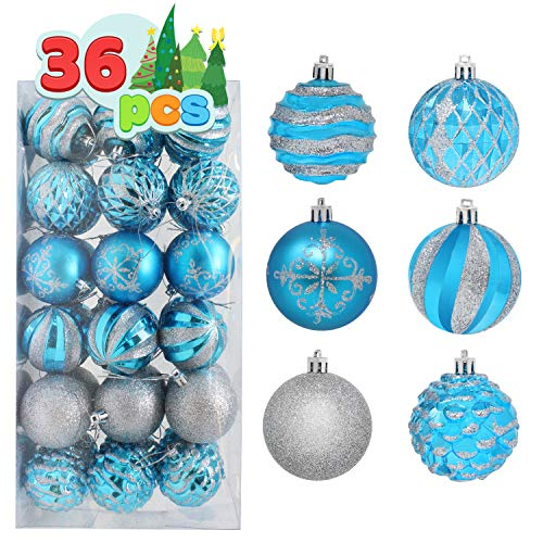 """Joiedomi 36 Pcs Christmas Ball Ornaments, Deluxe Shatterproof Christmas Ornaments for Holidays, Party Decoration, Tree Ornaments, and Special Events (Blue&Silver, 2.36"""")"""
