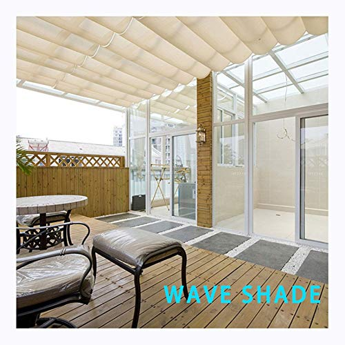 GDMING Retractable Wave Sail Shade Canopy Awning UV Protection Breathable Slide On Wire Replacement Pergola Cover For Outdoor Terrace Cafe Porch Custom Size Waterproof Fabric Polyester
