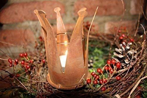 Rostikal - Teelichthalter Weihnachten aus Edelrost Ø 7 cm - Advent Weihnachtsdeko Metall Rost Krone Deko