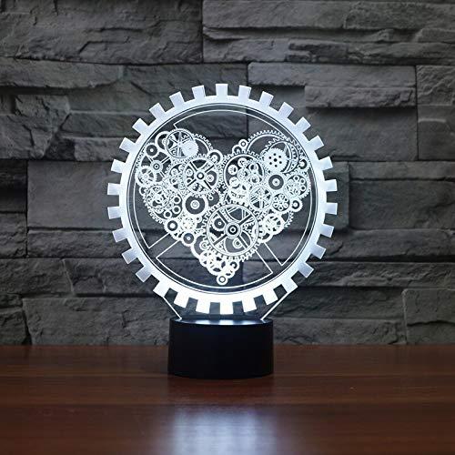 Steam Punk Style 3D Nachtlicht Ausrüstung Love Heart Nachttischlampe USB LED Leuchttisch Dekor Nachtlicht Kinder