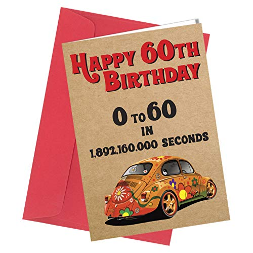#325 60. Geburtstag Karte Grußkarte VW Beatle Car Comedy Rude Lustig Humor (A4 gefaltet auf A5) Top Qualität Grußkarte nah an den Knochen #325