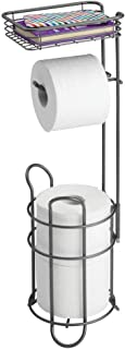 mDesign Freestanding Metal Wire Toilet Paper Roll Holder Stand and Dispenser with Storage Shelf for Cell, Mobile Phone - Bathroom Storage Organization - Holds 3 Mega Rolls - Graphite Gray