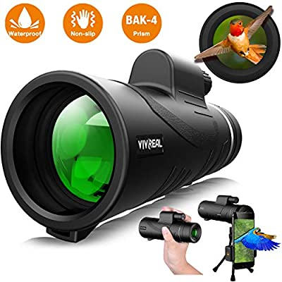 Monocular Telescope - 12X50 High Power ?HD Monocular for Bird Watching? with Smartphone Holder & Tripod IPX7 Waterproof Monocular Made by Hyper FMC BAK4 Prism & Eco-Friendly Materials by VIVREAL