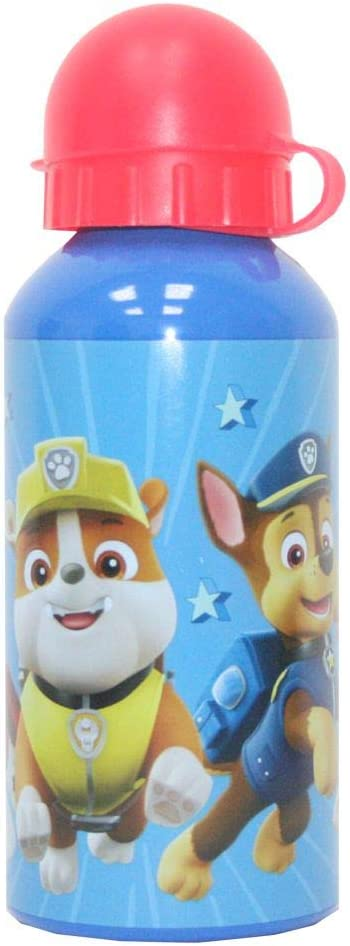PAW PATROL Botella de Aluminio Team | Patrulla Canina | Azul Rojo 400 ml | Deportes Botella