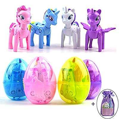 JOZON 4 Pack Large Unicorn Deformation Easter Eggs Toys for Kids Boys Girls Easter Basket Stuffers Stocking Stuffers Unicorn Easter Gifts Party Supplies Favors with 1 Easter Gift Bag