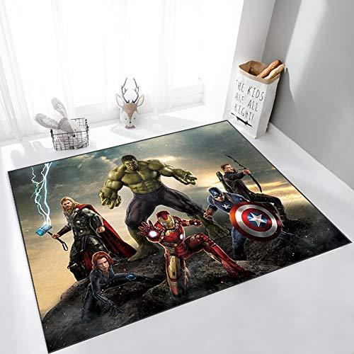 Captain America Spiderman Tapis The Avenges Marvel Team Super Héros Tapis De Porte Tapis Chambre Paillasses Dessin Animé De Dessin Animé De Tapis Antidérapant (Color : 01, Size : 80x120cm)