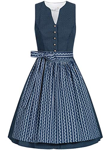 MarJo Trachten Damen Trachten-Mode Midi Dirndl Bernalda in Blau traditionell