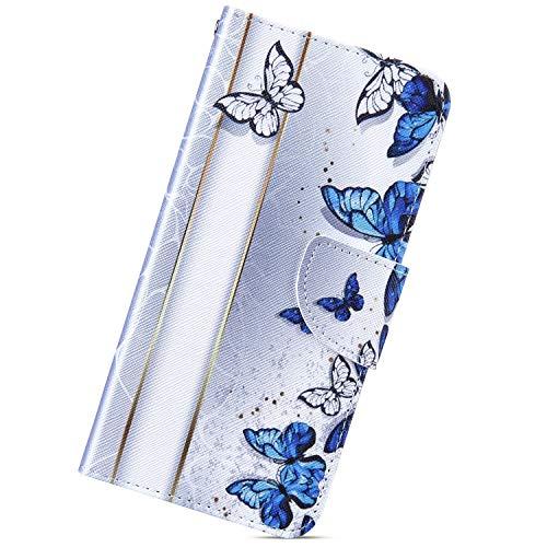 Urhause Funda Compatible con Xiaomi Redmi 4A.KunyFond Carcasa PU Cuero Flip Soporte Cierre Magnético Libro Ranuras Tarjetas Cartera Completa Protectora Cubierta Pintado 3D Bumper Case,Mariposa Azul