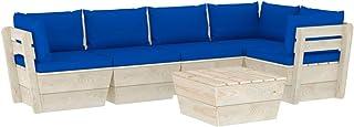 vidaXL Zestaw mebli ogrodowych z drewna świerkowego, 6-częściowy, z poduszkami, meble ogrodowe, meble do siedzenia, meble ...