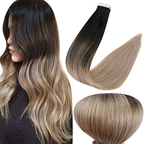 Full Shine Glue on Hair Real Human Hair Extensions 12 Inch 30g Straight Hair Fashion Tape Brazilian Hair Color 1B Off Black Fading to 18 Ash Blonde Extensions with Tape