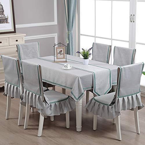 HYSJLS 5pcs / Set Tischdecke Art Rechteckige Baumwolle Leinen Frische Karierte Tischdecke Stuhl Mat Dining Chair Set Haus Stuhl-Abdeckung Set Tische Cover Leinendecke (Color : Grey)