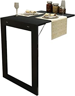 ZHIRONG Folding Wall-Mounted Drop-Leaf Table, Photo Frame,Multifunction Computer Desk Dining Table (Color : Black, Size : 7445CM)