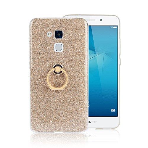 Huawei Honor 5C Hülle mit Ring Ständer, Funluna Bling Glitzer Handyhülle Weich TPU Silikon Schutzhülle Schale Tasche mit 360 Rotierendem Ring Fingerhalterung Ständer für Huawei Honor 5C