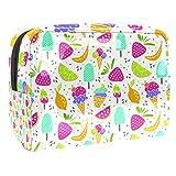 Bolsa de maquillaje portátil con cremallera bolsa de aseo de viaje para las mujeres práctico almacenamiento cosmético bolsa dulce postres helado fruta