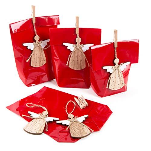 Logbuch-Verlag 5 rote Geschenktüten m. Weihnachtsanhänger Engel - Verpackung Weihnachten