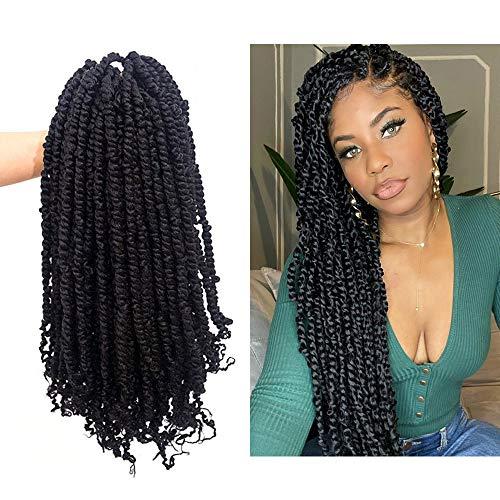 20 Inch 6 Packs Pre-twisted Passion Twists Crochet Hair Pre-looped Passion Twis Crochet Braids Synthetic Braiding Hair Extension(#1B)