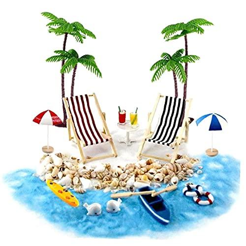 Casa de muñecas en miniatura Accesorios Beach Decoración del paisaje de la playa Micro con tumbonas Sombrillas Palmera por 18pcs verano