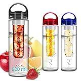 FunRun 700ml Frutta Acqua Bottiglia Infusioni Borraccia Infusore (Plastica Tritan Senza BPA) Perfetta per depurare l'organismo, per gli sport e per le attività all'aperto, Nero