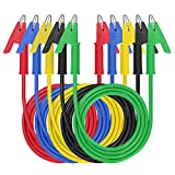 Pinzas de cocodrilo eléctricas con cables, cable de prueba, pinzas de cocodrilo, pinzas de cocodrilo, cable de prueba aislado, 5 colores, 5 piezas, 45 pulgadas