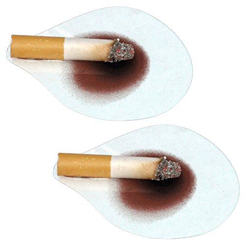 Spassprofi 2 x Brandfleck mit Zigarette Deko Loch Brandloch Decke Scherzartikel Partygag