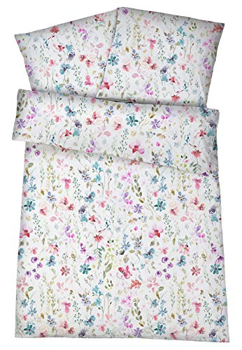 Carpe Sonno Luxuriöse Mako-Satin Damast Bettwäsche in exklusiver Hotelqualität 135 x 200 cm Bunt Blumen aus 100% Baumwolle, gekämmt – Hotel-Bettwäsche Set geblümt mit Kopfkissen-Bezug