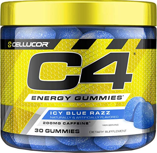 Cellucor C4 Gummies, Daily Pre Workout Energy Gummy Chews With 200mg Caffeine, Energy Booster With Beta Alanine & Fast-acting Carbohydrates, Icy Blue Razz, 30 Gummies