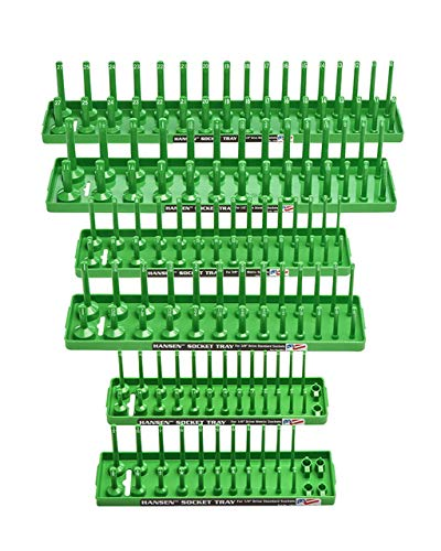 Hansen Global 92001 SAE & Metric, 2-Row Socket Tray Set - 6-Pieces, Green
