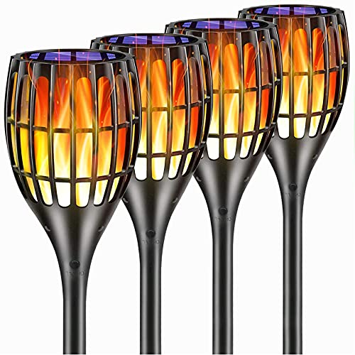 YUJENY Solar Torch Lights Upgraded, Waterproof Landscape Garden Pathway Light with Vivid Dancing Flickering Flames, with Auto On Off Dusk to Dawn, for Garden Patio Yard and Backyard Decor