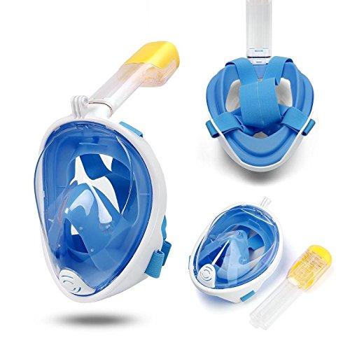 DUBAOBAO Volledig gezichtsmasker voor snorkelen, afneembare camera installatie/gratis duiken masker ademhaling panoramische, anti-mist, anti-lekkage (zwart en blauw, L/XL)
