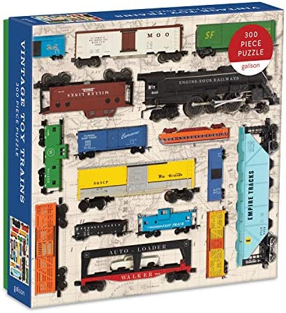"""Galison Vintage Toy Trains Puzzle, 300 Pieces, 21.25"""" x 16.14"""" – with Colorful Vintage Toys Trains on an Antique Map – Challenging, Perfect for Family Fun, Multicolor"""
