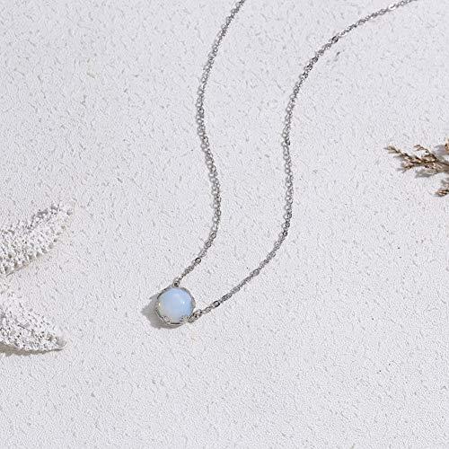XLHJK Halsketting met hanger, 1 stuks, elegante halo-kristal, zilveren ketting, maansteen