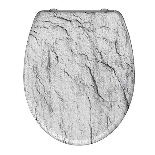 instmaier WC-Sitz WC5 // Duroplast Klodeckel mit Absenkautomatik // Schnelle Reinigung durch Schnellverschluss // Toilettendeckel // Einfache Montage // Motiv Graphit