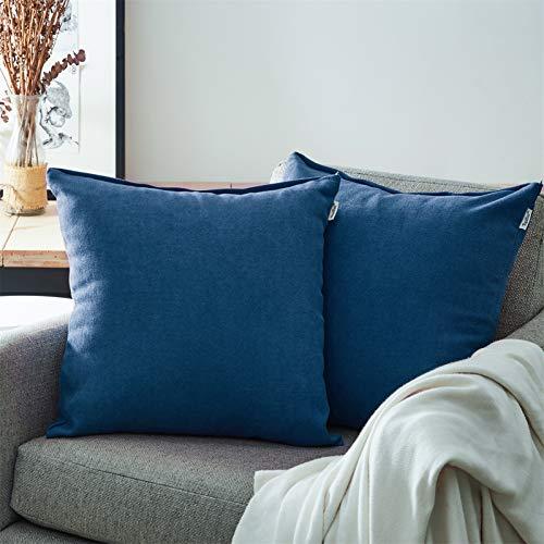 Topfinel Juego 2 Fundas Cojines Sofas de Algodón Lino Chenilla Duradero Almohadas Decorativa de Color sólido para Sala de Estar, sofás, Camas, sillas 60x60cm Azul Marino