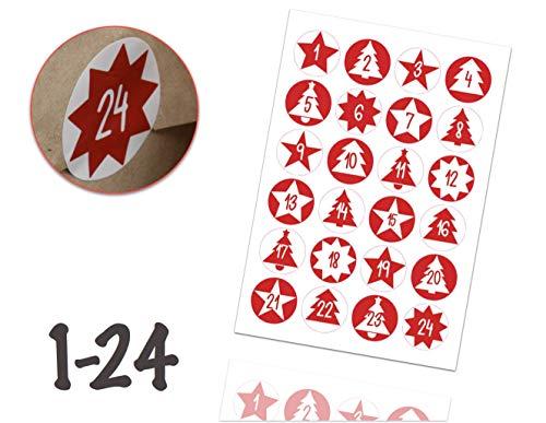 TK Gruppe Timo Klingler Adventskalender Weihnachten Aufkleber Etiketten Sticker Zahlen Buttons 1-24 selbstklebend zum basteln (Edition 2)