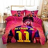 XCMDSM Neymar jr Barcelona período ídolo Juvenil Superestrella del fútbol Juego de Funda nórdica y 2 Fundas de Almohada 100% súper Microfibra (220x 240 cm y 50 x 75 cm*2)