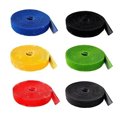 HUAZIZ 6 Rollos Cinta de Gancho y Bucle Sujeta Cables, Cable Reutilizable Corbatas Correa de Cable, Cable Correa Gancho y Lazo Corbatas Envolturas, Organizador de Cables, Recortable, 1.5cmx2m