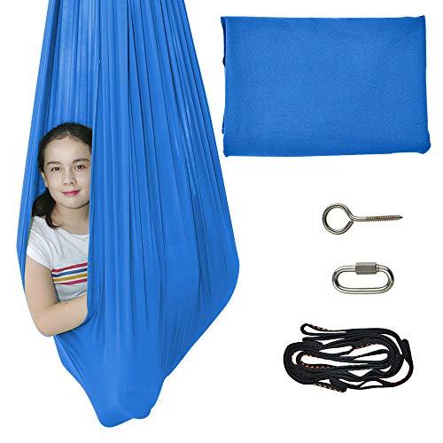 TOPARCHERY Terapia de Interior Swing Cuddle Hamaca Swing sensorial Swuggle Swing Hardware Set Terapia Swing para niños con Autismo Necesidades Especiales TDAH Aspergers (Blue)