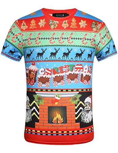 SSLR Men's Funny Xmas Tee Holiday Crewneck Ugly Christmas T-Shirt (Medium, Multicolor)