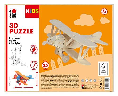 Marabu 317000000001 - KiDS 3D Holzpuzzle Doppeldecker, mit 25 Puzzleteilen aus FSC-zertifiziertem Holz, ca. 21 x 9 cm groß, einfache Stecktechnik, zum individuellen Bemalen und Gestalten