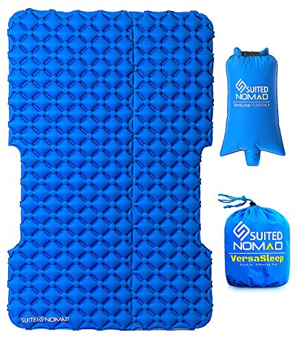SUITEDNOMAD Double Sleeping Pad for Camping, 2 Person Inflatable SUV Air Mattress Bed, Lightweight Versatile Design Mat for Car Camping, Tent, Backpacking, Travel