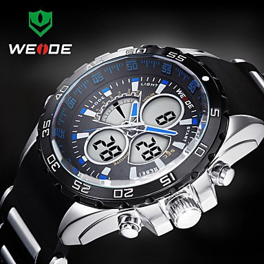 Fashion Watches Schöne Uhren, WEIDE Männer sportlich Analog-Digital-Uhr Kautschukband Stoppuhr/Alarm-Hintergrundbeleuchtung/wasserdicht (Farbe : Blau)