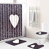 Vlejoy Impermeable Amor Creativo Cortina De Ducha Alfombra Antideslizante Baño Set Baño Enviar Gancho 4pcs