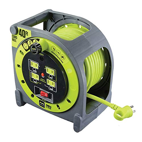 Masterplug 40ft Cord Case Reel with 4 120V / 13 AMP Integrated Outlets and Thermal Overload Breaker