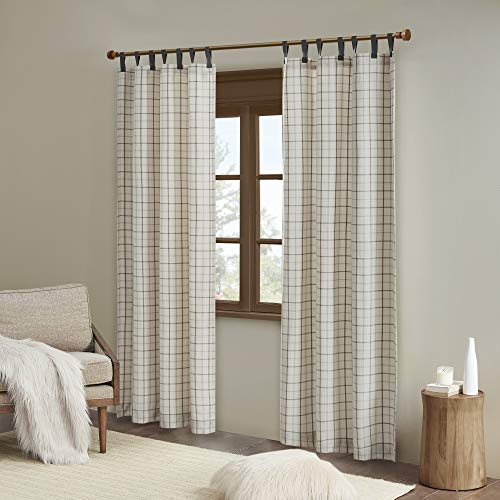 """Madison Park Anaheim Cabin Plaid Curtains Window, Thermal Insulated Fleece Lining Living Room Decor Light Blocking Drape for Bedroom and Apartments, 50"""" x 84"""", Faux Leather Tab, Natural"""