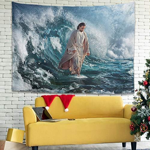 Ballbollbll Tapices coloridos para colgar en la pared de Jesus walks on water para dormitorio, sala de estar, color blanco, 150 x 149 cm