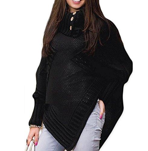 Morefaz dames cape capes sjaal lang gebreid gevouwen rolkraag knop ponchos wanten eenheidsmaat (MFAZ Ltd)