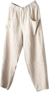 IHGTZS Shorts for Men, Men's Summer Simple and Fashionable Pure Cotton and Linen Trousers